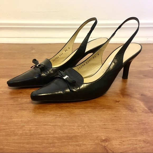 Salvatore Ferragamo Black Sling Back Heels Size 8.5 Aaa Women's Shoes Clothing, Shoes & Accessories